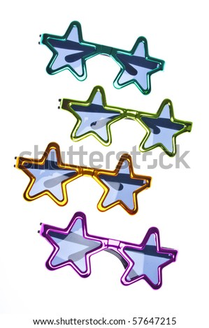 Star Shaped Summer Sunglasses Background or Border Image with Copy Space Isolated on White with a Clipping Path.