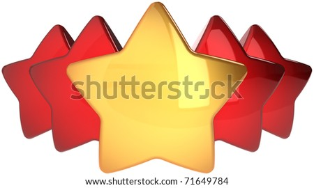 Star shapes one golden four red. Leadership winner success concept. The best choice abstract. This is a detailed render 3d cgi (Hi-Res). Isolated on white background - stock photo