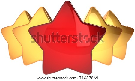 Star shapes one red four golden. Leadership champion success concept. The best choice abstract. This is a detailed render 3d cgi (Hi-Res). Isolated on white background - stock photo