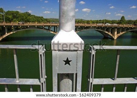 Star sign decorated on the bridge in Austin, Texas, USA - stock photo