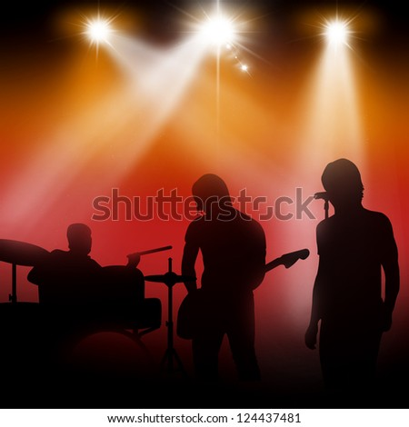star singer and the crowd of fans - concert poster - stock photo