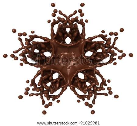 Star Splash: Liquid chocolate with drops isolated over white - stock photo