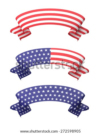 Star striped ribbon banners isolated on white. - stock photo