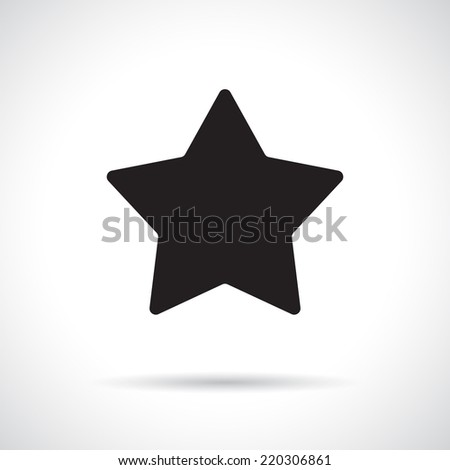 Star symbol with shadow. Black flat icon. Vector version is also available in the portfolio. - stock photo