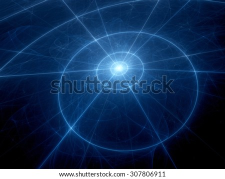 Star system with trajectories, computer generated abstract background - stock photo