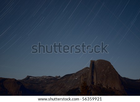 Star Trails over Half Dome. Taken from Glacier Point - stock photo