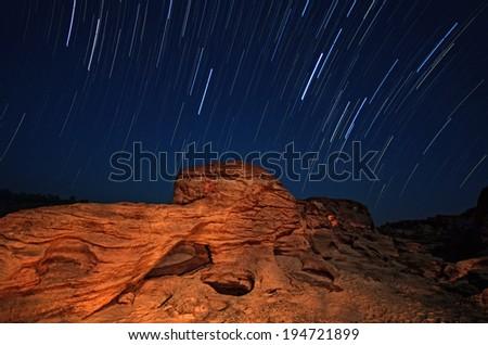 Star trails thailand - stock photo