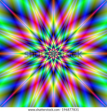 Star Turn / A digital abstract fractal image with a psychedelic multiple star design in blue, green, yellow, violet and red.
