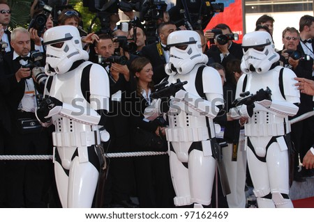 Star Wars stormtroopers at the gala premiere of Star Wars - Revenge of the Sith - at the 58th Annual Film Festival de Cannes. May 15, 2005 Cannes, France.  2005 Paul Smith / Featureflash - stock photo
