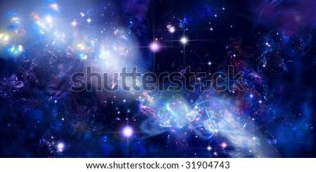 Star way, long nebula or part of galaxy among star sky - stock photo