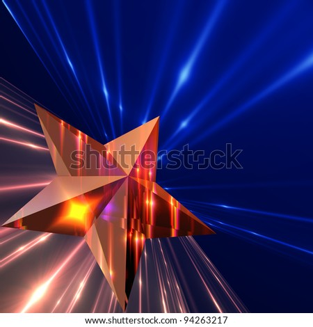 Star  with glow strings. - stock photo