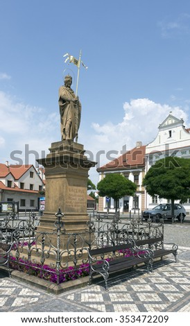 STARA BOLESLAV, CZECH REPUBLIC - JULY 5, 2015: Historical Czech town is the oldest pilgrimage site in Central Bohemia. The monument of St. Venceslas, the murdered prince, is located on the square.