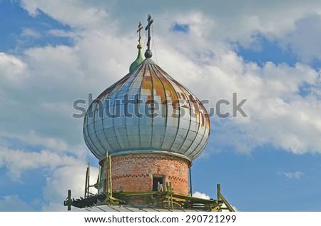 Staraya Ladoga. Nikolsky Monastery. Nicholas Cathedral. Russia - stock photo
