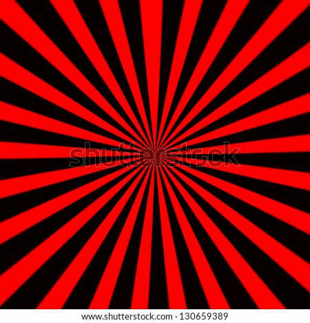 Starburst background, sunbeams going in all directions, red and black - stock photo
