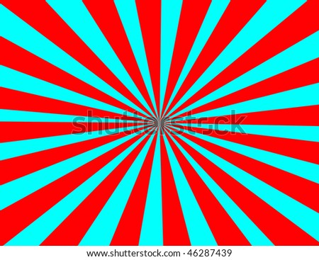 Starburst in red and blue retro appeal - stock photo