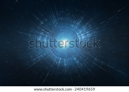 Starburst space travel background - stock photo