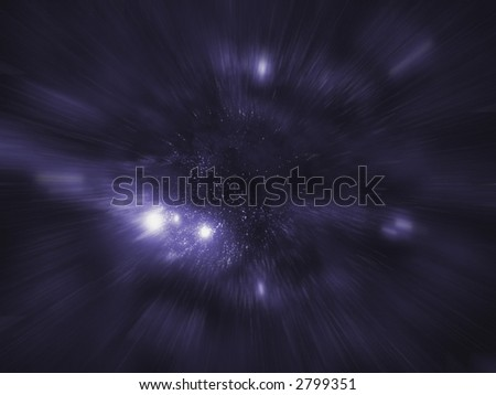 Starfield series: entering hyperspace. - stock photo