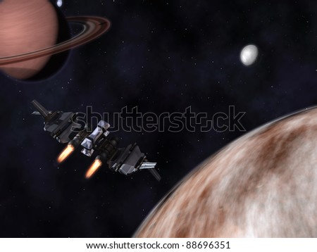 StarFighter in action in space with planets, satellites and stars - stock photo