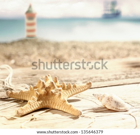 Starfish and a seashell lying in the hot summer sun on old wooden boards at the seaside with a beach and lighthouse visible behind, shallow dof - stock photo