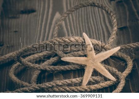 starfish and rope - stock photo