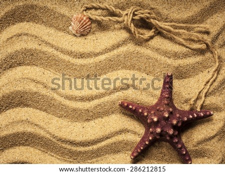 Starfish and rope with sand as background with copy space. - stock photo