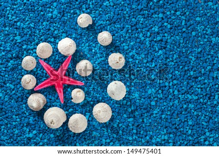 Starfish and seashells on blue background - stock photo