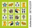 Starfish hamster Penguin leopard seal raccoon panda toucan Finding the Same Picture Educational game for Preschool Children.  - stock vector