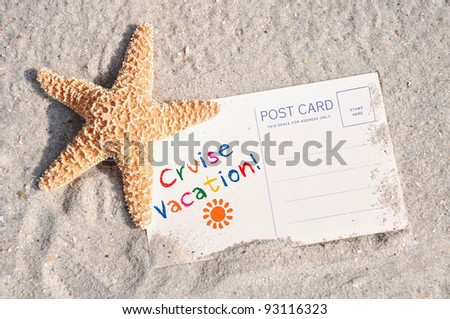 Starfish in sand with postcard concept, room for your text