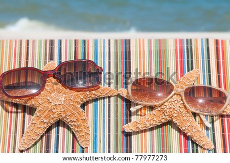 starfish lounging at the beach - stock photo