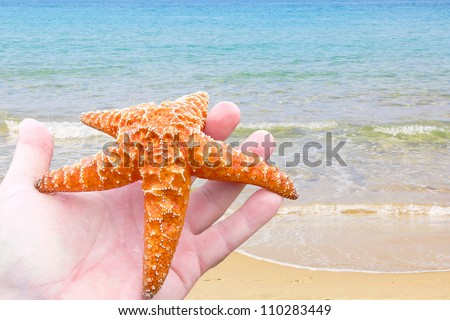 Starfish on a human hand against blue surf - stock photo