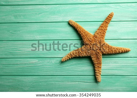 Starfish on a mint wooden table