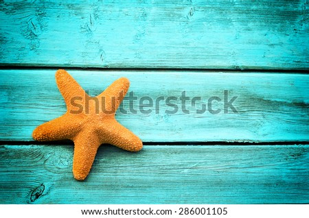 Starfish on the blue wooden background - stock photo