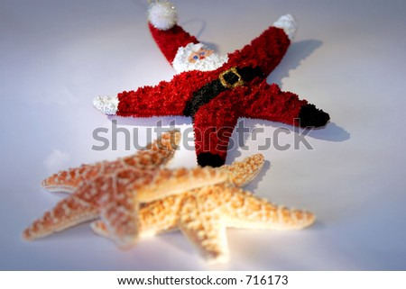 Starfish Santa Claus with two other starfish - represents Christmas season in tropical or warm locales. - stock photo