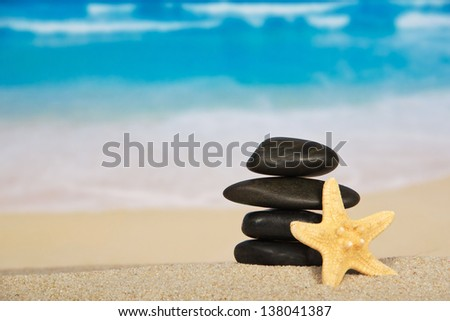 Starfishes and pebbles on the sandy seashore