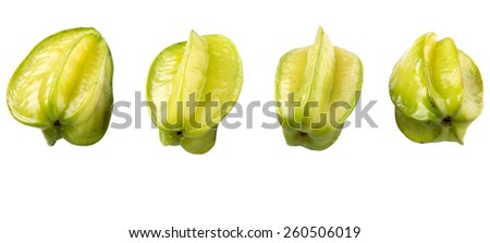 Starfruit or carambola over white background