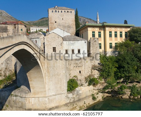 Stari Most, the Famous Old Bridge in Mostar, Bosnia and Herzegovina - stock photo