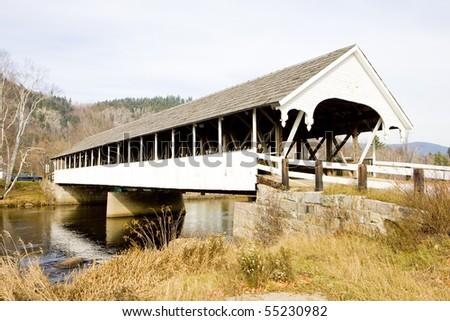 Stark Covered Bridge (1862), New Hampshire, USA - stock photo