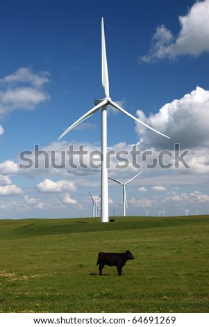 Stark white power generating wind turbines behind green cattle pasture, lone cow, white clouds, and blue skies. - stock photo
