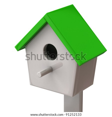 Starling house isolated on white background - stock photo
