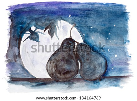 Starlit night of two  enamoured  pear fruit in love concept- handmade watercolor painting illustration on a white paper art background - stock photo