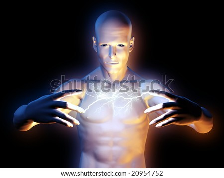 Starnge magic man with lightning between the hands - stock photo
