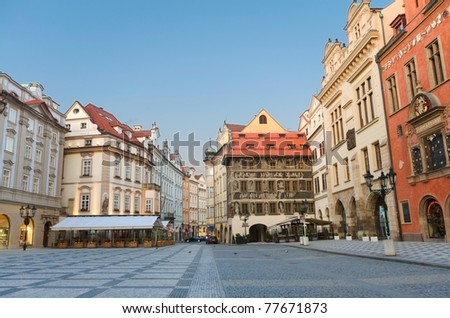 Staromestska's Square (Old Town Square) with street cafes, Prague, Czech Republic - stock photo