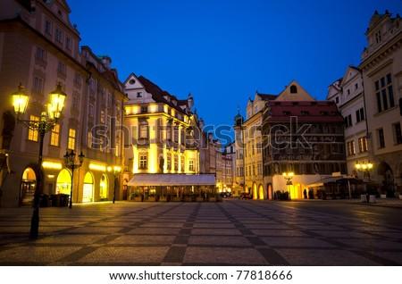 Staromestska Square and street cafes at night; Prague, Czech Republic - stock photo