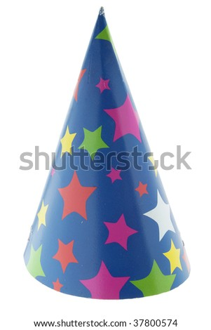 starred cone carton party hat on white