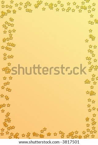 Starry bordered golden notepaper - stock photo