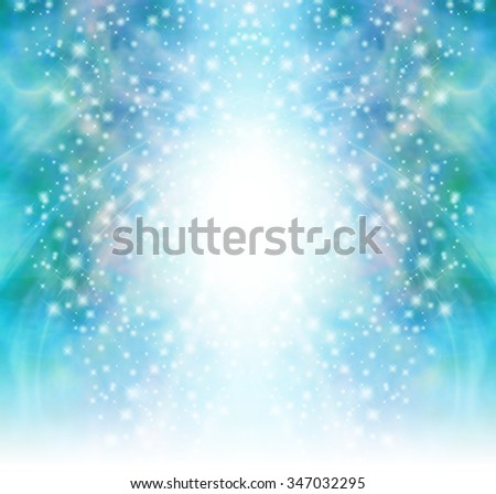 Starry glittery green sparkling background - Christmas Tree shaped cascading sparkles and glitter with a central ball of white  fading into white at the base - stock photo