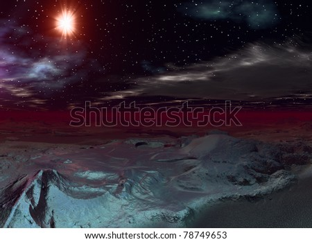 Starry landscape like an alien planet and one big star - stock photo