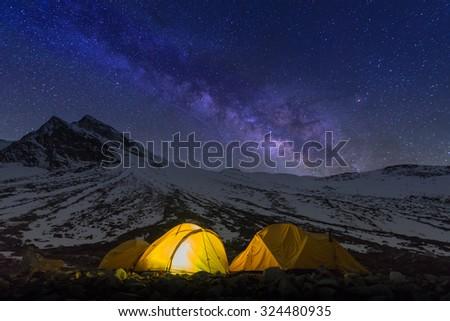 Starry night at Larkya pass on the way of Manaslu circuit, Nepal - stock photo