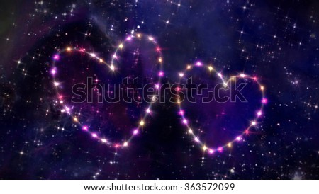 starry night in space background with heart forming from stars - stock photo
