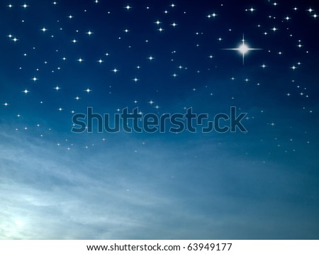 Starry night many bright star in blue sky - stock photo
